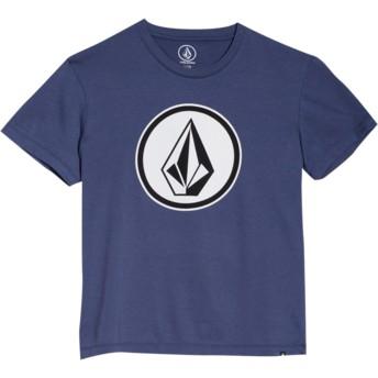 Camiseta manga curta azul marinho para criança Classic Stone Deep Blue da Volcom