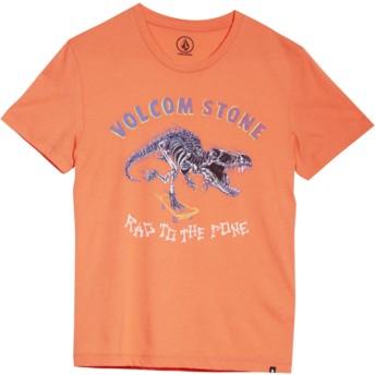 Camiseta manga curta vermelho para criança Rad Rex Salmon da Volcom