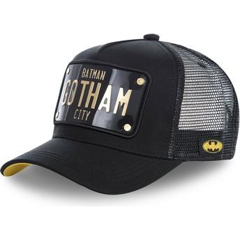 Boné trucker preto com placa Batman Gotham City BATP1 DC Comics da Capslab