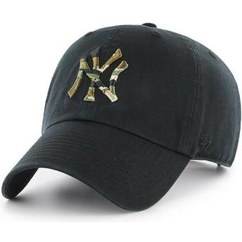 Boné curvo preto com logo camuflagem da New York Yankees MLB Clean Up Camfill da 47 Brand