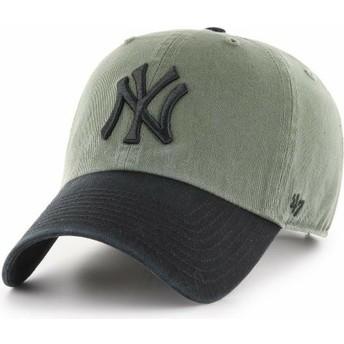 Boné curvo verde com pala e logo preto da New York Yankees MLB Clean Up Two Tone da 47 Brand