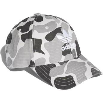 Boné curvo camuflagem cinza ajustável Trefoil Classic da Adidas