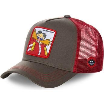 Boné trucker cinza e vermelho Doutor Eggman EGG Sonic the Hedgehog da Capslab