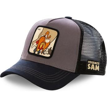 Boné trucker cinza e preto Yosemite Sam SAM2 Looney Tunes da Capslab