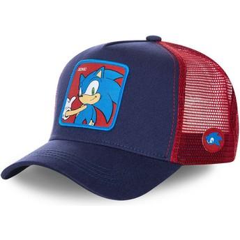 Boné trucker azul marinho e vermelho Sonic SO1 Sonic the Hedgehog da Capslab