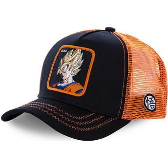 Boné trucker preto e laranja Son Goku Super Saiyan GO3 Dragon Ball da Capslab