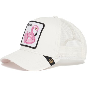 Boné trucker branco flamingo flutuador Floater da Goorin Bros.