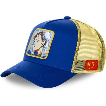 Boné trucker azul e amarelo Chun-Li CHU Street Fighter da Capslab