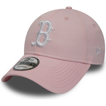 Boné curvo rosa ajustável 9FORTY Essential da Boston Red Sox MLB da New Era