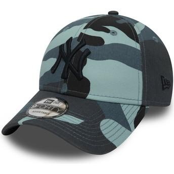 Boné curvo camuflagem azul ajustável com logo preto 9FORTY Essential da New York Yankees MLB da New Era