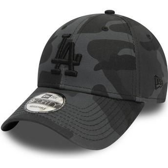 Boné curvo camuflagem preto ajustável com logo preto 9FORTY Essential da Los Angeles Dodgers MLB da New Era