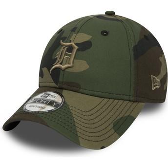 Boné curvo camuflagem ajustável com logo castanho 9FORTY Essential da Detroit Tigers MLB da New Era