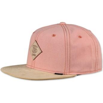Boné 6 painéis rosa snapback Melange Twill da Djinns