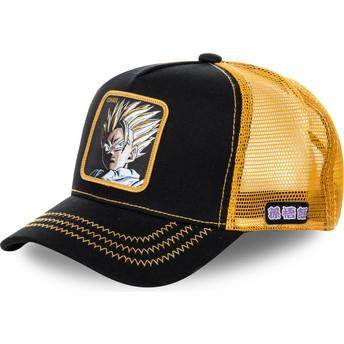 Boné trucker preto e amarelo Son Gohan Super Saiyan 2 DBZSUP Dragon Ball da Capslab