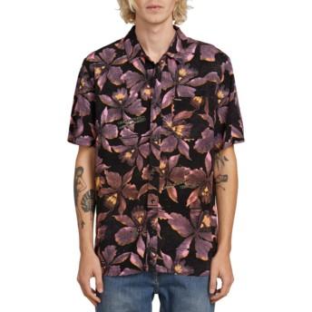 Camisa manga curta preta com flores Resorto Vallarta Neon Pink da Volcom
