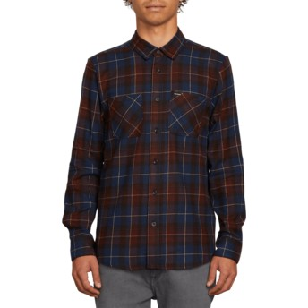 Camisa manga comprida azul aos quadrados Lumberg Flannel Melindigo da Volcom