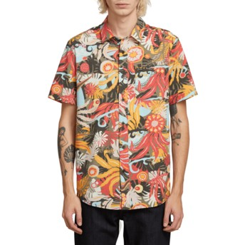 Camisa manga curta multicolor Psych Floral Army da Volcom
