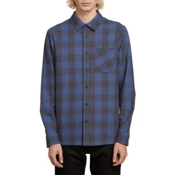 Camisa manga comprida azul marinho aos quadrados Joneze Indigo da Volcom