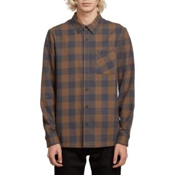Camisa manga comprida azul e castanha aos quadrados Joneze Mushroom da Volcom