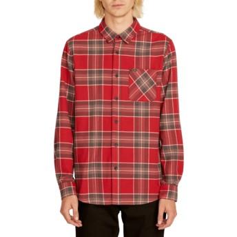 Camisa manga comprida vermelha aos quadrados Caden Plaid Burgundy da Volcom