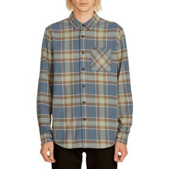 Camisa manga comprida azul marinho aos quadrados Caden Plaid Indigo da Volcom