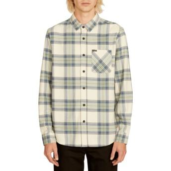 Camisa manga comprida branca aos quadrados Caden Plaid Off White da Volcom