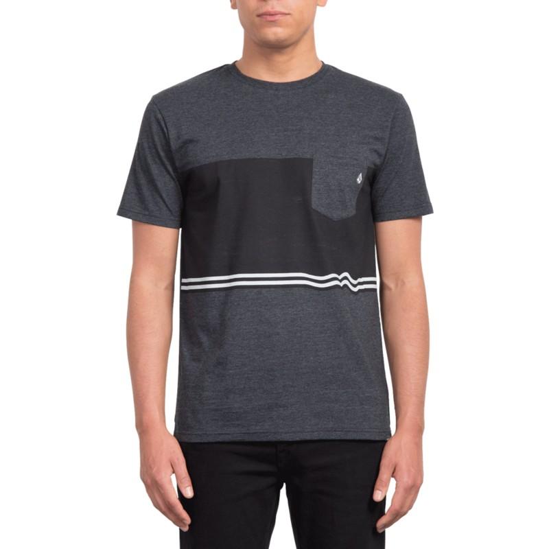 3475b87a8 Camiseta manga curta preto Three Quarter Heather Black da Volcom ...
