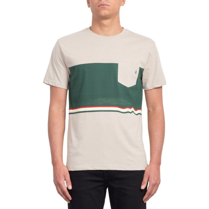 2caa67c08 Camiseta manga curta bege e verde Three Quarter Oatmeal da Volcom ...