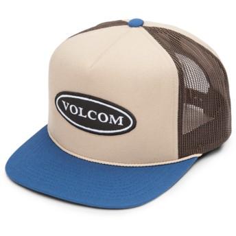 Boné trucker castanho com pala azul Logger Cheese Sand Brown da Volcom