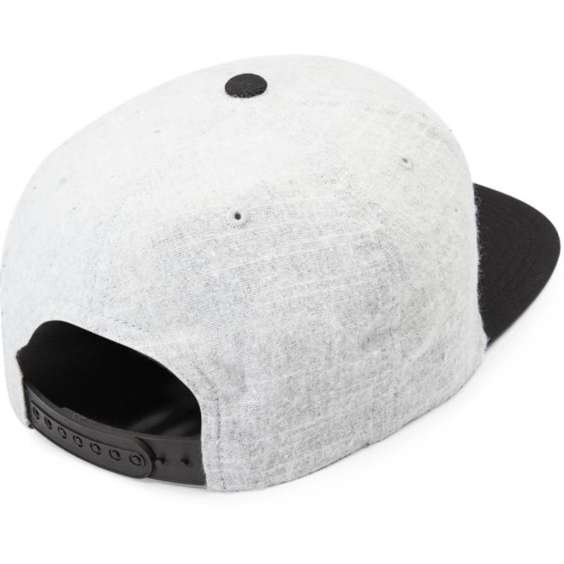 a0f8ceb027c3a Boné plano cinza snapback com pala preta Quarter Fabric Grey Vintage ...