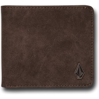 Carteira castanha Slim Stone Dark Brown da Volcom