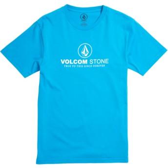 Camiseta manga curta azul para criança Super Clean Division Cyan Blue da Volcom