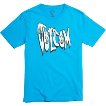 Camiseta manga curta azul para criança Volcom Panic Division Cyan Blue da Volcom