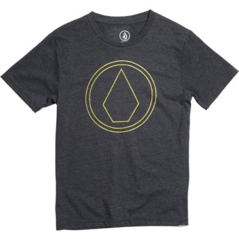 Camiseta manga curta preto para criança Pin Stone Heather Black da Volcom