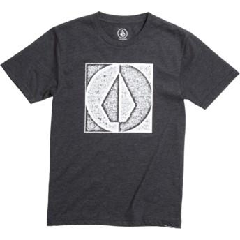 Camiseta manga curta preto para criança Stamp Divide Heather Black da Volcom