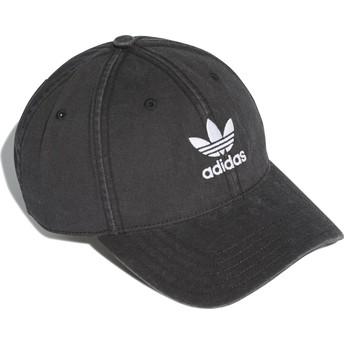 Boné curvo preto ajustável Washed Adicolor da Adidas