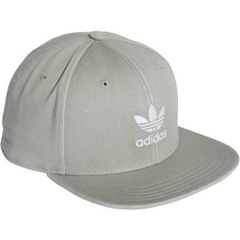 Boné plano cinza snapback Trefoil Adicolor da Adidas