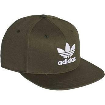 Boné plano verde snapback Trefoil da Adidas