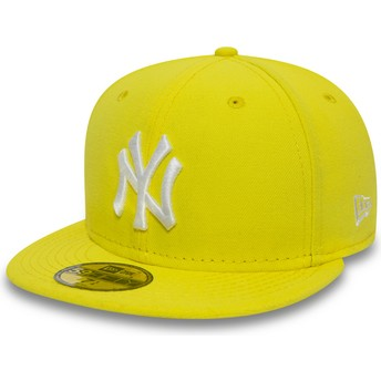 Boné plano amarelo justo 59FIFTY Essential da New York Yankees MLB da New Era