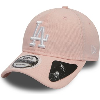 Boné curvo rosa ajustável 9TWENTY DryEra Packable da Los Angeles Dodgers MLB da New Era