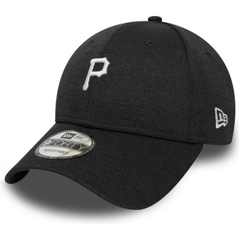 Boné curvo preto ajustável 9FORTY Shadow Tech da Pittsburgh Pirates MLB da New Era