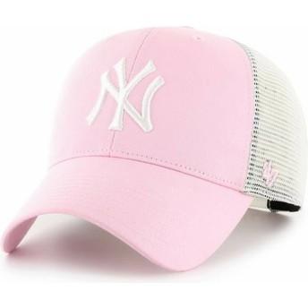 Boné trucker rosa claro MVP Flagship da New York Yankees MLB da 47 Brand
