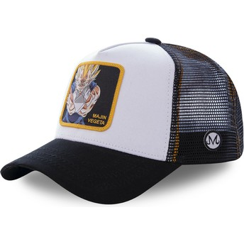 Boné trucker branco e preto Majin Vegeta MV4 Dragon Ball da Capslab