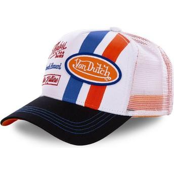 Boné trucker branco e laranja MCQORA da Von Dutch