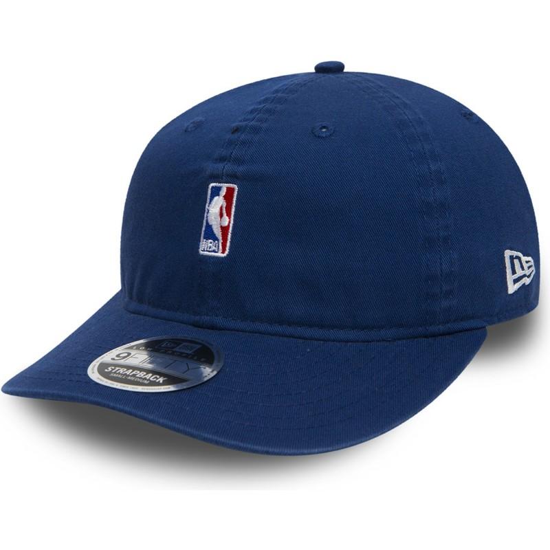 a02a07d1f2c97 Boné plano azul snapback para criança 9FIFTY Low Profile NBA Logo da New Era