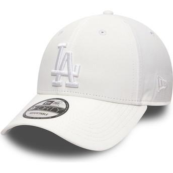 Boné curvo branco ajustável com logo branco 9FORTY Nano Ripstop da Los Angeles Dodgers MLB da New Era
