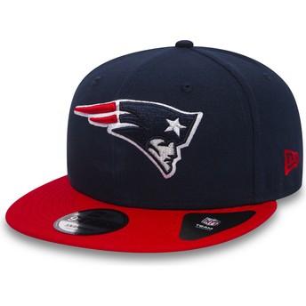 Boné plano azul marinho snapback com pala vermelho 9FIFTY Team da New England Patriots NFL da New Era