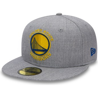 Boné plano cinza justo 59FIFTY Heather da Golden State Warriors NBA da New Era
