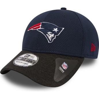 Boné curvo azul marinho justo com pala preta 39THIRTY Shadow Tech da New England Patriots NFL da New Era