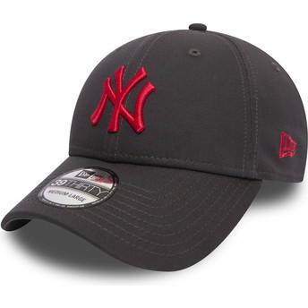 Boné curvo pedra justo com logo vermelho 39THIRTY Essential League da New York Yankees MLB da New Era